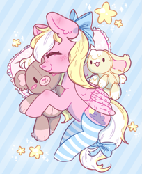 Size: 817x1000 | Tagged: safe, artist:rednineuwu, oc, oc only, oc:bay breeze, pegasus, pony, blushing, bow, clothes, cute, female, hair bow, happy, mare, plushie, sleeping, socks, solo, stars, striped socks, tail bow