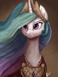 Size: 1536x2048 | Tagged: safe, artist:raphaeldavid, princess celestia, alicorn, pony, bust, chest fluff, cloak, clothes, crown, female, jewelry, mare, neck, portrait, regalia, simple background, solo