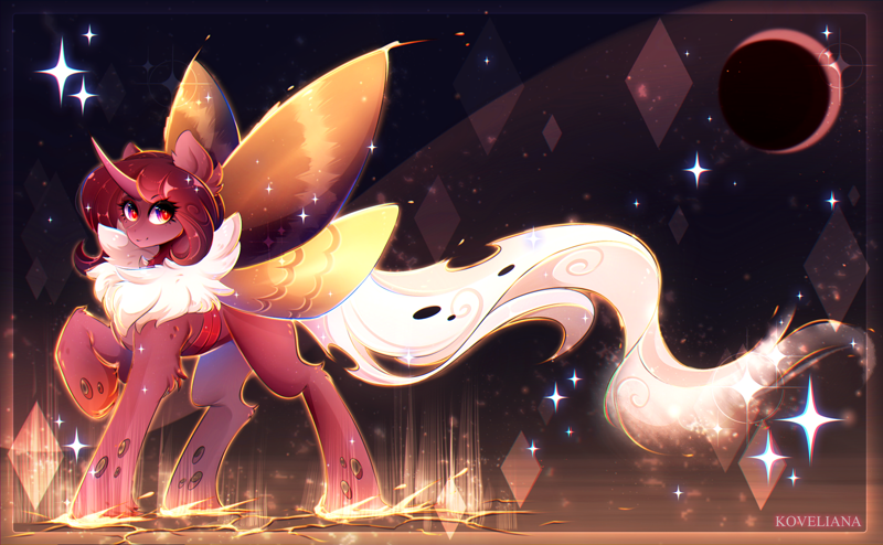 Size: 3000x1852 | Tagged: safe, artist:koveliana, oc, oc only, oc:flechette, changeling, moth, mothling, original species, eye clipping through hair, featured image, looking at you, raised hoof, red changeling, simple background, smiling, solo