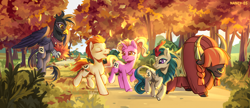 Size: 2028x878 | Tagged: safe, artist:nancy-05, gallop j. fry, georgia (character), luster dawn, river song (character), yelena, earth pony, griffon, kirin, pony, unicorn, yak, the last problem, autumn, cloven hooves, eyes closed, female, flying, history repeats itself, luster five, male, mare, nose piercing, nose ring, older, older gallop j. fry, open mouth, piercing, running of the leaves, scenery, smiling, spread wings, stallion, tree, wings