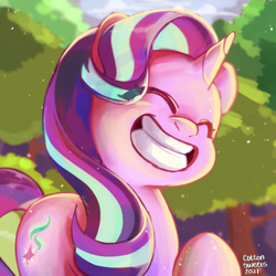 Size: 1000x1000 | Tagged: safe, artist:cottonsweets, starlight glimmer, pony, unicorn, memnagerie, spoiler:memnagerie, cute, eyes closed, female, glimmerbetes, grin, happy, mare, scene interpretation, smiling, solo, tree, weapons-grade cute