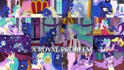 Size: 1974x1111 | Tagged: safe, edit, edited screencap, editor:quoterific, screencap, daybreaker, derpy hooves, princess celestia, princess luna, starlight glimmer, twilight sparkle, a royal problem, ballerina, tutu, twilarina