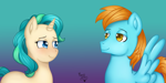 Size: 4982x2500 | Tagged: safe, artist:yumomochan, pegasus, unicorn, blushing, commission, couple, digital art, female, gradient background, male, mare, original character do not steal, smiling, stallion