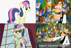 Size: 960x648 | Tagged: artist needed, safe, bon bon, sweetie drops, agent, crossover, heinz doofenshmirtz, phineas and ferb