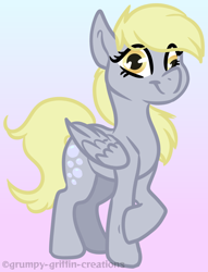 Size: 1138x1490 | Tagged: safe, artist:grumpygriffcreation, derpy hooves, pegasus, pony, gradient background, solo