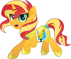 Size: 5483x4530   Tagged: safe, artist:pumpkinpieforlife, sunset shimmer, pony, unicorn, my little pony: the movie, absurd resolution, armor, female, guardsmare, mare, movie accurate, royal guard, royal guard armor, saddle, simple background, solo, tack, tail wrap, transparent background, vector