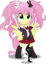 Size: 4016x5593 | Tagged: safe, artist:anime-equestria, angel bunny, fluttershy, pegasus, pony, alternate hairstyle, bipedal, boots, bow, clothes, crossover, cute, danganronpa, female, hairpin, jewelry, junko enoshima, mare, monokuma, necklace, necktie, pigtails, shirt, shoes, simple background, skirt, smiling, solo, standing, transparent background, vector, wings
