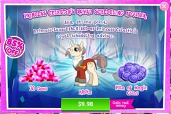 Size: 1574x1045 | Tagged: safe, kibitz, unicorn, advertisement, costs real money, gameloft, gem
