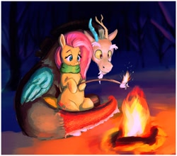 Size: 1520x1340 | Tagged: safe, artist:dummyhorse, discord, fluttershy, draconequus, pegasus, pony, campfire, clothes, discoshy, female, fire, folded wings, food, hoof hold, hooves to the chest, looking at something, male, mare, marshmallow, outdoors, scarf, shipping, sitting, smiling, stick, straight, tree, wings