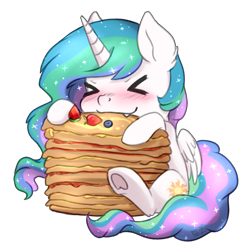 Size: 826x826 | Tagged: safe, artist:tokokami, princess celestia, alicorn, pony, ><, blueberry, blushing, chibi, cute, cute little fangs, cutelestia, ear fluff, eating, eyes closed, fangs, female, food, herbivore, mare, pancakes, simple background, sitting, solo, strawberry, transparent background