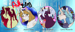 Size: 2800x1210 | Tagged: safe, artist:theblackcatstale, oc, oc:ashen snow, oc:charred spinel, oc:satin monarch, oc:trembling spirit, unicorn, were-pony, ask, colorful, finished, horn, tumblr, unicorn oc