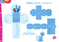 Size: 2048x1447 | Tagged: safe, artist:dashiesparkle edit, artist:grapefruitface1, trixie, base used, craft, custom, eyeshadow, lidded eyes, makeup, papercraft, printable, solo, toy