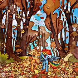 Size: 2000x2000 | Tagged: safe, artist:tamira, applejack, rainbow dash, earth pony, pegasus, pony, fall weather friends, appledash, autumn, duo, falling leaves, female, leaf, lesbian, running of the leaves, scene interpretation, shipping