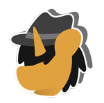 Size: 1078x1065 | Tagged: safe, artist:kaokraft, oc, oc:kaokraft, pony, unicorn, black mane, clothes, fedora, hair over one eye, hat, icon, jacket, minimalist, modern art