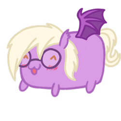 Size: 1080x1080 | Tagged: safe, artist:captshowtime, oc, oc only, oc:pinkfull night, bat pony, pony, blushing, chibi, commission, cute, food, glasses, icon, ponysona, potato, simple background, solo, transparent background, ych result, your character here