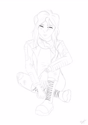 Size: 3508x4961 | Tagged: safe, artist:shyinka, sunset shimmer, human, equestria girls, alternate design, alternate outfits, boots, clothes, combat boots, jacket, jeans, leather jacket, lineart, monochrome, pants, ripped jeans, ripped pants, scarf, shoes, sitting, solo, torn clothes