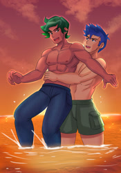 Size: 800x1143 | Tagged: safe, artist:tzc, flash sentry, timber spruce, equestria girls, anime, beach, clothes, commission, duo, duo male, male, pants, partial nudity, sunset, topless, water