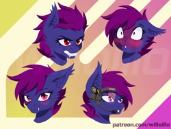 Size: 1600x1200 | Tagged: safe, artist:willoillo, oc, oc only, oc:presh twirl, bat pony, pony, bat pony oc, bat wings, emotes, wings