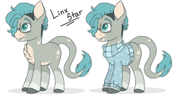 Size: 1280x695 | Tagged: safe, artist:mintoria, oc, oc:linx star, hybrid, mule, clothes, glasses, male, simple background, solo, sweater, transparent background