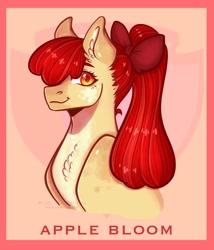Size: 1750x2048 | Tagged: safe, artist:rubimlp6, apple bloom, earth pony, pony, bust, chest fluff, ear fluff, looking sideways, older, older apple bloom, portrait, ribbon, simple background, solo