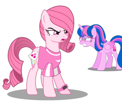 Size: 1569x1310 | Tagged: safe, artist:muhammad yunus, edit, oc, oc only, oc:annisa trihapsari, oc:hsu amity, alicorn, earth pony, pony, base used, clothes, cross-popping veins, duo, female, glasses, gritted teeth, heart, mare, medibang paint, open mouth, simple background, solo, swap, teeth, transparent background, upset, wat, watch