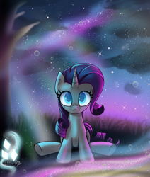 Size: 3300x3900 | Tagged: safe, artist:opal_radiance, rarity, unicorn, frown, looking at each other, looking at you, looking up, sitting, solo, starry eyes, starry night, stars, wingding eyes