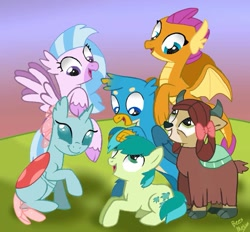 Size: 927x861 | Tagged: safe, artist:beesmeliss, gallus, ocellus, sandbar, silverstream, smolder, yona, changedling, changeling, classical hippogriff, dragon, earth pony, griffon, hippogriff, pony, yak, bow, cloven hooves, colored hooves, cute, diaocelles, diastreamies, dragoness, female, gallabetes, hair bow, looking at each other, male, mane six opening poses, monkey swings, sandabetes, smiling, smolderbetes, student six, teenager, yonadorable