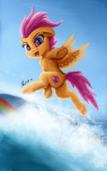 Size: 1600x2560   Tagged: safe, artist:raphaeldavid, scootaloo, pegasus, pony, bipedal, chest fluff, female, filly, looking at you, looking back, looking back at you, mare, solo, surfboard, surfing