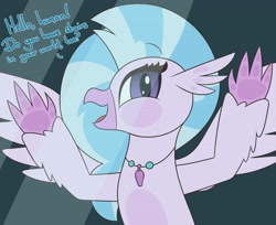 Size: 4096x3342 | Tagged: safe, artist:mrneo, silverstream, hippogriff, against glass, breaking the fourth wall, cute, dialogue, diastreamies, female, fourth wall, glass, jewelry, necklace, solo, stairs, that hippogriff sure does love stairs