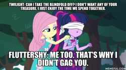 Size: 600x337 | Tagged: safe, edit, edited screencap, screencap, fluttershy, sci-twi, twilight sparkle, equestria girls, equestria girls series, stressed in show, stressed in show: fluttershy, spoiler:eqg series (season 2), blindfold, caption, image macro, king of the hill, text