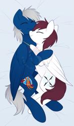 Size: 845x1440 | Tagged: safe, artist:scarlet-spectrum, oc, oc only, pegasus, pony, cuddling