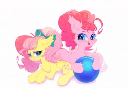Size: 2424x1665 | Tagged: safe, artist:astralblues, fluttershy, pinkie pie, earth pony, pegasus, pony, alternate hairstyle, ball, blushing, bow, chest fluff, cute, ear fluff, female, floppy ears, fluffy, flutterpie, folded wings, hair bow, high res, hoof fluff, leg fluff, lesbian, looking at you, lying down, mare, open mouth, pigtails, ponytail, shipping, shy, simple background, smiling, stray strand, three quarter view, twintails, white background, wings