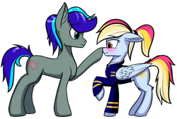 Size: 2791x1888   Tagged: safe, artist:colourwave, oc, oc only, oc:colourwave, pegasus, pony, unicorn, blushing, boop, clothes, cute, duo, female, floppy ears, horn, male, mare, multicolored hair, pegasus oc, pilot, ponytail, scrunchy face, shipping, simple background, stallion, transparent background, unicorn oc, uniform, wings