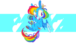 Size: 3125x1758 | Tagged: safe, artist:batshaped, rainbow dash, pony, flying, smiling, solo, spread wings, underhoof, wings