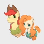 Size: 937x944 | Tagged: safe, artist:luciferamon, bright mac, pear butter, earth pony, pony, brightbutter, clothes, cowboy hat, female, freckles, hat, male, mare, scarf, shipping, simple background, stallion, stetson, straight