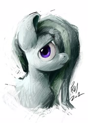 Size: 1702x2375 | Tagged: safe, artist:th3ipodm0n, marble pie, earth pony, pony, bust, female, hair over one eye, high res, looking at you, mare, portrait, simple background, solo, three quarter view, white background