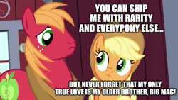 Size: 1280x720 | Tagged: safe, edit, edited screencap, screencap, applejack, big macintosh, brotherhooves social, applecest, applemac, female, incest, male, shipping, straight, text, why