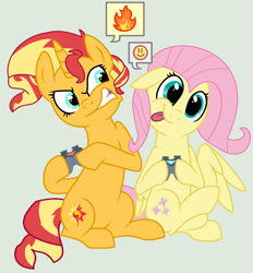 Size: 2008x2160 | Tagged: safe, artist:jadethepegasus, artist:syriskater, fluttershy, sunset shimmer, pegasus, pony, unicorn, :), :p, angry, base used, controller, cute, duo, female, fire, gamer sunset, gamershy, gray background, gritted teeth, hoof hold, madorable, mare, rageset shimmer, raised hoof, raised leg, shimmerbetes, shyabetes, simple background, sunset shimmer is not amused, tongue out, unamused