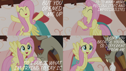 Size: 2000x1125 | Tagged: safe, edit, edited screencap, editor:quoterific, screencap, discord, fluttershy, draconequus, pegasus, pony, discordant harmony, caption, comic, duo, eyes closed, female, flying, hooves in air, male, open mouth, screencap comic, text