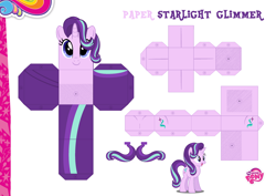 Size: 2048x1447 | Tagged: safe, artist:dashiesparkle edit, artist:grapefruitface1, starlight glimmer, base used, craft, custom, papercraft, printable, solo, toy