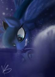 Size: 855x1197 | Tagged: safe, artist:fantasydreamer98, princess luna, pony, reflection, solo