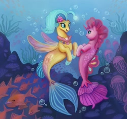 Size: 1280x1203 | Tagged: safe, artist:bartholomaei, pinkie pie, princess skystar, fish, jellyfish, piranha, seapony (g4), my little pony: the movie, blue eyes, bubble, eyelashes, female, fin wings, fins, fish tail, flower, flower in hair, freckles, jewelry, lesbian, looking at each other, necklace, open mouth, pearl necklace, seaponified, seapony pinkie pie, seashell, seashell necklace, shipping, skypie, smiling, species swap, tail, underwater, water, wings