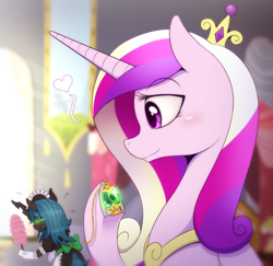 Size: 1200x1168   Tagged: safe, artist:vavacung, princess cadance, queen chrysalis, changeling, changeling queen, comic:misguided love, blushing, cadalis, clothes, dress, duo, duo female, duster, female, infidelity, lesbian, maid, shipping, skirt, socks, sweat, sweatdrop