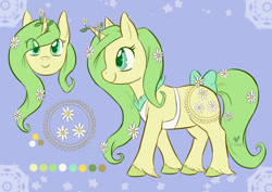 Size: 1280x904 | Tagged: safe, artist:foxhatart, oc, oc:daisy chain, pony, unicorn, apron, bow, clothes, female, flower, mare, reference sheet, solo, tail bow