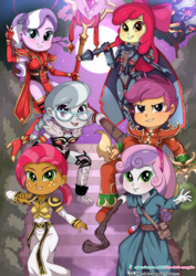 Size: 724x1023 | Tagged: safe, artist:the-dark-mangaka, apple bloom, babs seed, diamond tiara, scootaloo, silver spoon, sweetie belle, equestria girls, chromie, clothes, costume, deckard cain, heroes of the storm, illidan stormrage, king leoric, sally whitemane, sonya