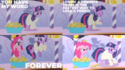 Size: 2000x1125   Tagged: safe, edit, edited screencap, editor:quoterific, screencap, pinkie pie, twilight sparkle, earth pony, pony, unicorn, green isn't your color, angry, cheese, clothes, eyes closed, floppy ears, food, forever, open mouth, robe, twilight is not amused, unamused, unicorn twilight