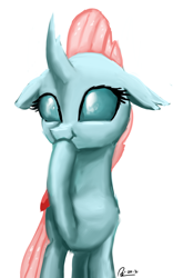 Size: 1600x2560 | Tagged: safe, artist:raphaeldavid, ocellus, changedling, changeling, cute, diaocelles, female, hoof over mouth, puffy cheeks, scrunchy face, simple background, smiling, solo, white background