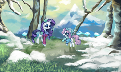 Size: 5000x3000 | Tagged: safe, artist:colochenni, rarity, sweetie belle, pony, unicorn, bag, belle sisters, clothes, duo, duo female, earmuffs, female, grass, hat, house, mountain, ponyville, scarf, scenery, snow, tree, winter, winter outfit