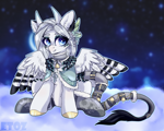Size: 2500x2000 | Tagged: safe, artist:etoz, oc, oc only, oc:holivi, bird, bird pone, original species, pegasus, bell, blue eyes, clothes, cloud, digital art, feather, female, gift art, horns, leaves, leonine tail, looking away, mare, night, pegasus oc, plant, plumage, raised hoof, shoes, sitting, sky, smiling, solo, stars, straps, tail, tail feathers, wings