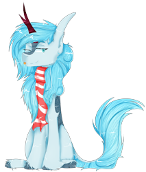 Size: 4057x4761   Tagged: artist needed, safe, oc, oc only, oc:frost flare, kirin, 2021 community collab, derpibooru community collaboration, :p, clothes, female, kirin oc, mare, scarf, simple background, sitting, tongue out, transparent background